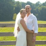 Just married...standing by the corral fence in the North Meadow